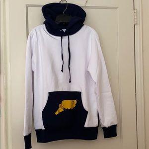 NWT NoahNYC white/navy runner hoodie size: S